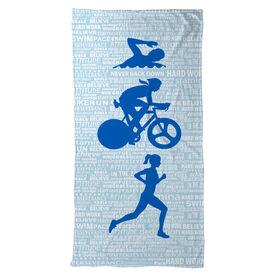 Triathlon Beach Towel Swim Bike Run Inspiration Female