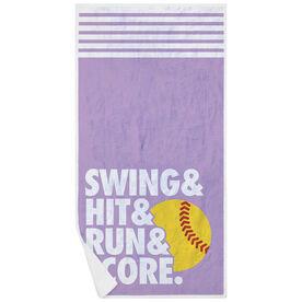 Softball Premium Beach Towel - Swing & Hit & Run & Score