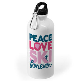 Skiing 20 oz. Stainless Steel Water Bottle - Peace Love Ski Forever