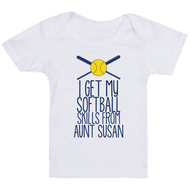 Softball Baby T-Shirt - I Get My Skills From