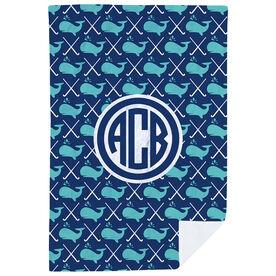 Field Hockey Premium Blanket - Field Hockey Whale Monogram