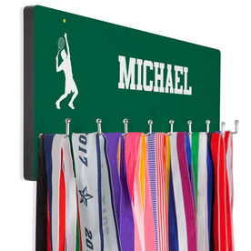 Tennis Hooked on Medals Hanger - Guy Silhouette With Personalization