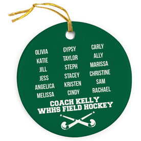 Field Hockey Porcelain Ornament Personalized Team Roster