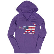 Girls Lacrosse Lightweight Performance Hoodie Patriotic LuLa the Lax Dog