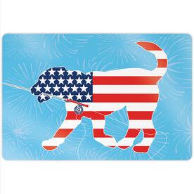 "Fly Fishing 18"" X 12"" Aluminum Room Sign - Patriotic Flynn The Fly Fishing Dog"