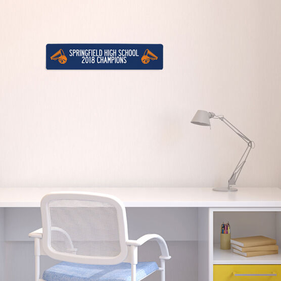 """Cheerleading Aluminum Room Sign - Team Your Text With MegaPhones and Pom Poms (4""""x18"""")"""