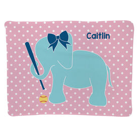 Softball Baby Blanket - Softball Elephant with Bow