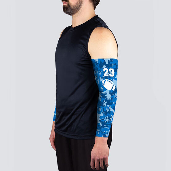 Football Printed Arm Sleeves - Football Digital Camo with Number