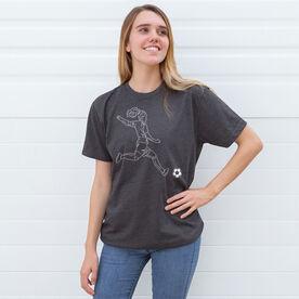 Soccer Short Sleeve T-Shirt - Soccer Girl Player Sketch