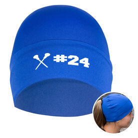 Performance Ponytail Cuff Hat Personalized Number Girls Lacrosse Sticks