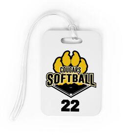 Softball Bag/Luggage Tag - Custom Softball Logo with Team Number