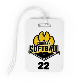 Softball Bag/Luggage Tag - Custom Softball Logo with Team Number