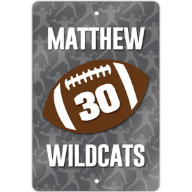 """Football Aluminum Room Sign (18""""x12"""") Personalized Football with Number and Silhouette Pattern"""