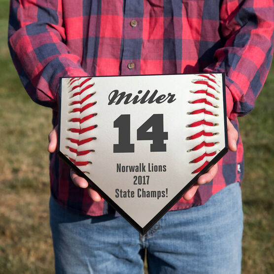 Baseball Personalized Baseball Stitches Home Plate Plaque