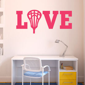 Lacrosse Removable ChalkTalkGraphix Wall Decal LOVE with Lacrosse Stick Head