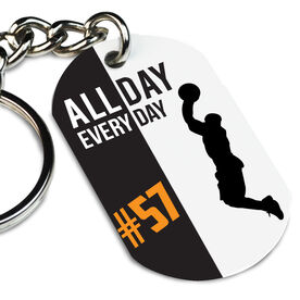 Basketball Printed Dog Tag Keychain Personalized All Day Every Day