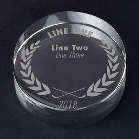 Hockey Personalized Engraved Crystal Puck - Custom Laurel Wreath