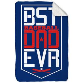 Baseball Sherpa Fleece Blanket - Best Dad Ever Shield