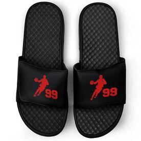 Basketball Black Slide Sandals - Guy Player with Number