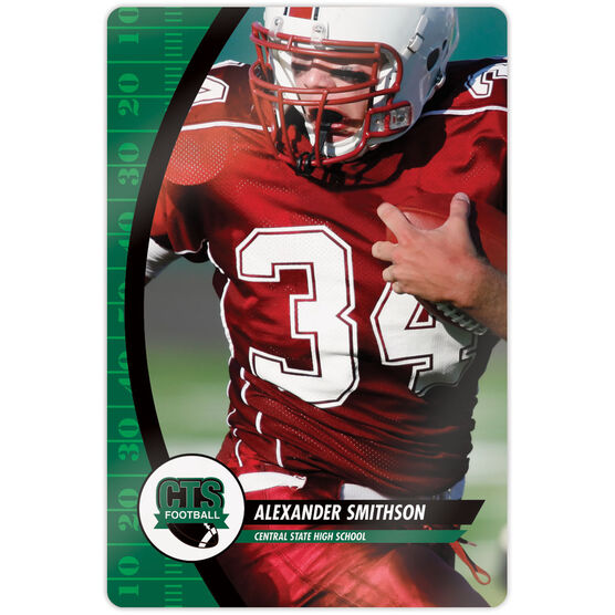 "Football 18"" X 12"" Aluminum Room Sign - Player Photo With Logo"
