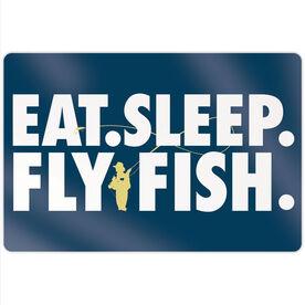 "Fly Fishing 18"" X 12"" Aluminum Room Sign - Eat Sleep Fly Fish"