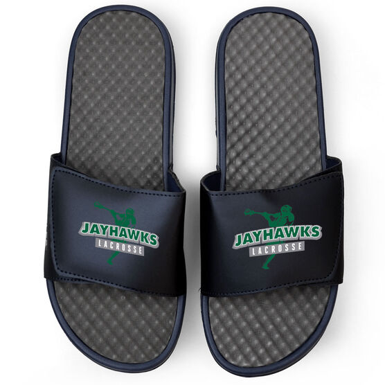 Guys Lacrosse Navy Slide Sandals - Your Team Name