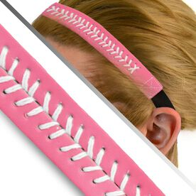 Authentic Softball Stitch Leather Headband Pink
