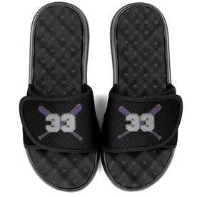 Softball PR SOLES® Adjustable Strap Recovery Slide Sandals - Crossed Bats with Number
