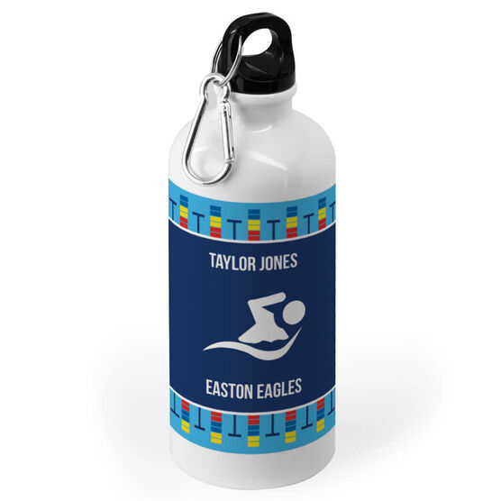 Swimming 20 oz. Stainless Steel Water Bottle - Team With Lanes
