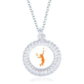Tennis Braided Circle Necklace - Female Player Silhouette
