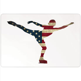 "Figure Skating 18"" X 12"" Aluminum Room Sign - American Flag Silhouette"