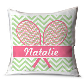 Tennis Throw Pillow Personalized Tennis Rackets with Chevron
