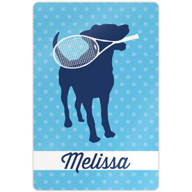 "Tennis Aluminum Room Sign Personalized Tennis Dog (18"" x 12"")"