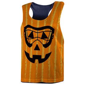 Girls Lacrosse Racerback Pinnie - Lacrosse Goggles Pumpkin Face