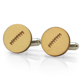 Football Engraved Wood Cufflinks Stitches