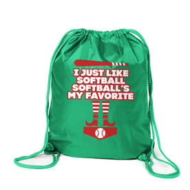 Softball Sport Pack Cinch Sack - Softball's My Favorite