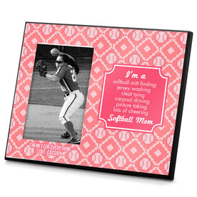 Softball Photo Frame Softball Mom Poem with Softball Pattern