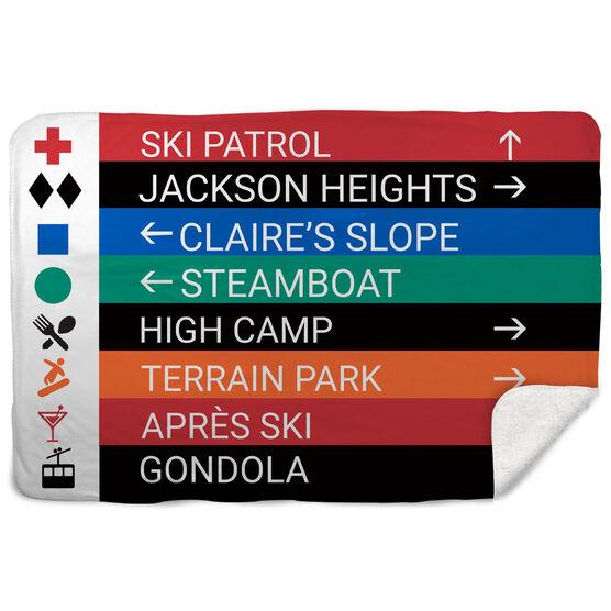 Skiing & Snowboarding Sherpa Fleece Blanket - Closeup Sign