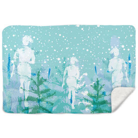 Running Sherpa Fleece Blanket Winter Run Abstract