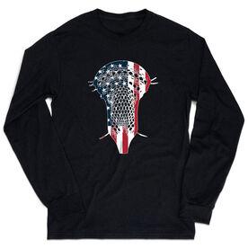 Guys Lacrosse Tshirt Long Sleeve - Patriotic Stick