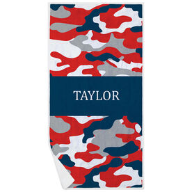 Personalized Premium Beach Towel - Camo Pattern