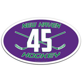 Hockey Oval Car Magnet Team Name and Number