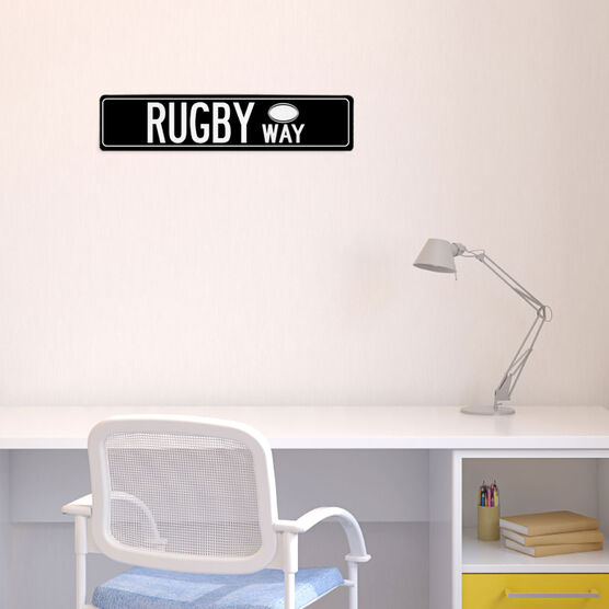 """Rugby Aluminum Room Sign - Rugby Way (4""""x18"""")"""