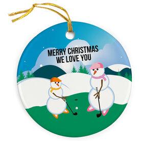 Golf Porcelain Ornament Swing Snowmen Mom