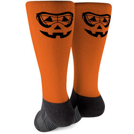 Girls Lacrosse Printed Mid-Calf Socks - Lax Goggles Pumpkin Face