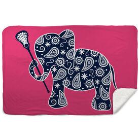 Girls Lacrosse Sherpa Fleece Blanket Lax Elephant