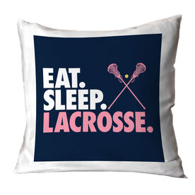 Girls Lacrosse Decorative Pillow - Eat Sleep Lacrosse