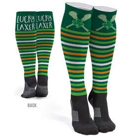 Girls Lacrosse Printed Knee-High Socks - Shamrock Stripes