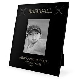 Baseball Engraved Picture Frame - Baseball & Crossed Bats