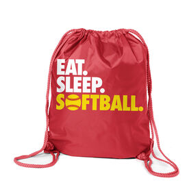 Softball Sport Pack Cinch Sack Eat. Sleep. Softball.